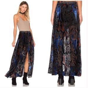 NEW Free People Velvet Burnout Maxi Skirt Button 2